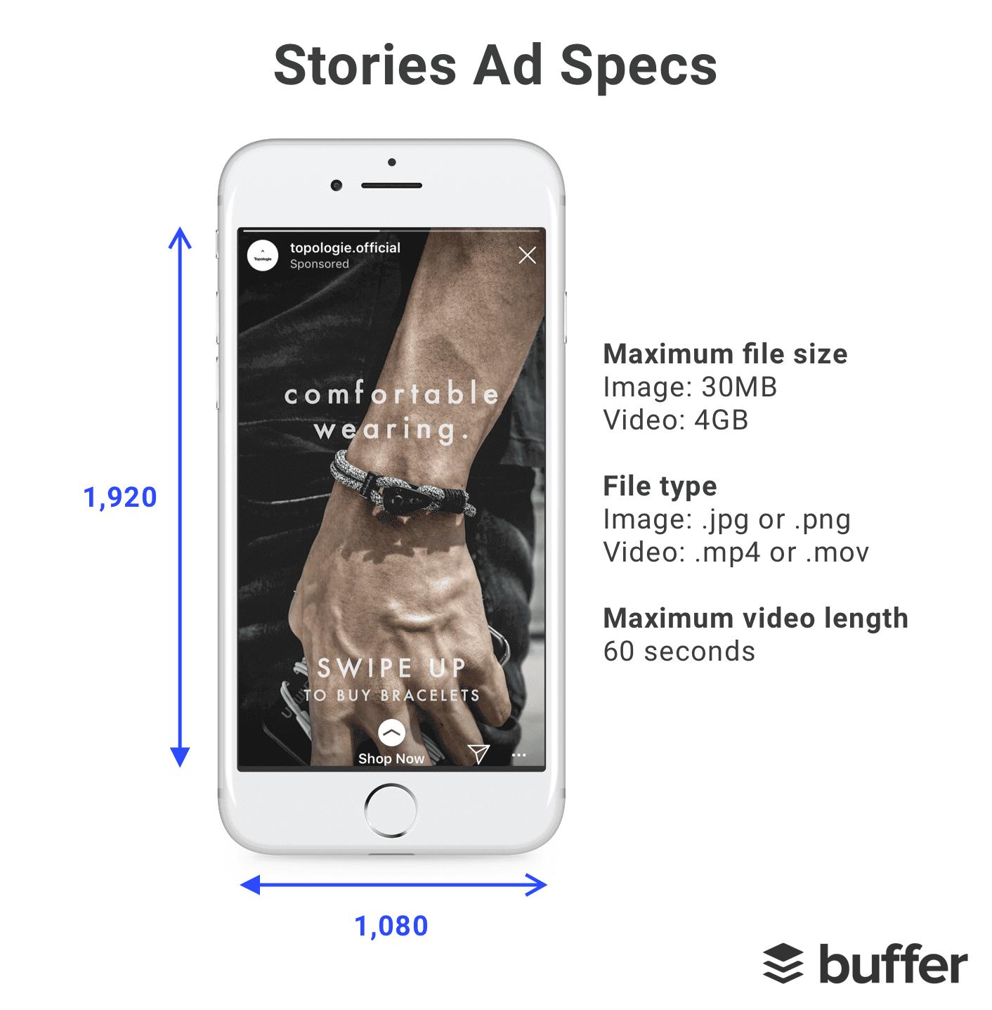 dimensões de anuncios de stories de instagram