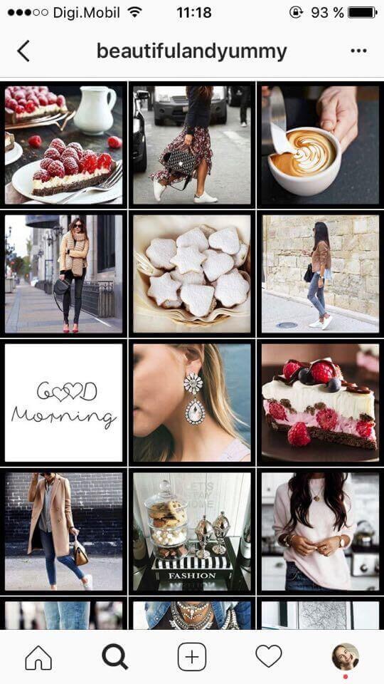 feed do Instagram de bordas pretas