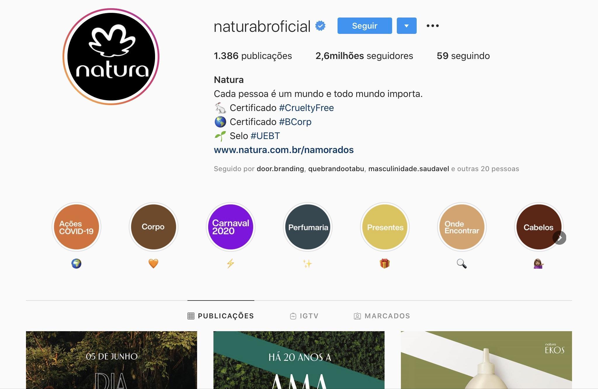 Exemplos para Criar Destaques do Instagram - Natura