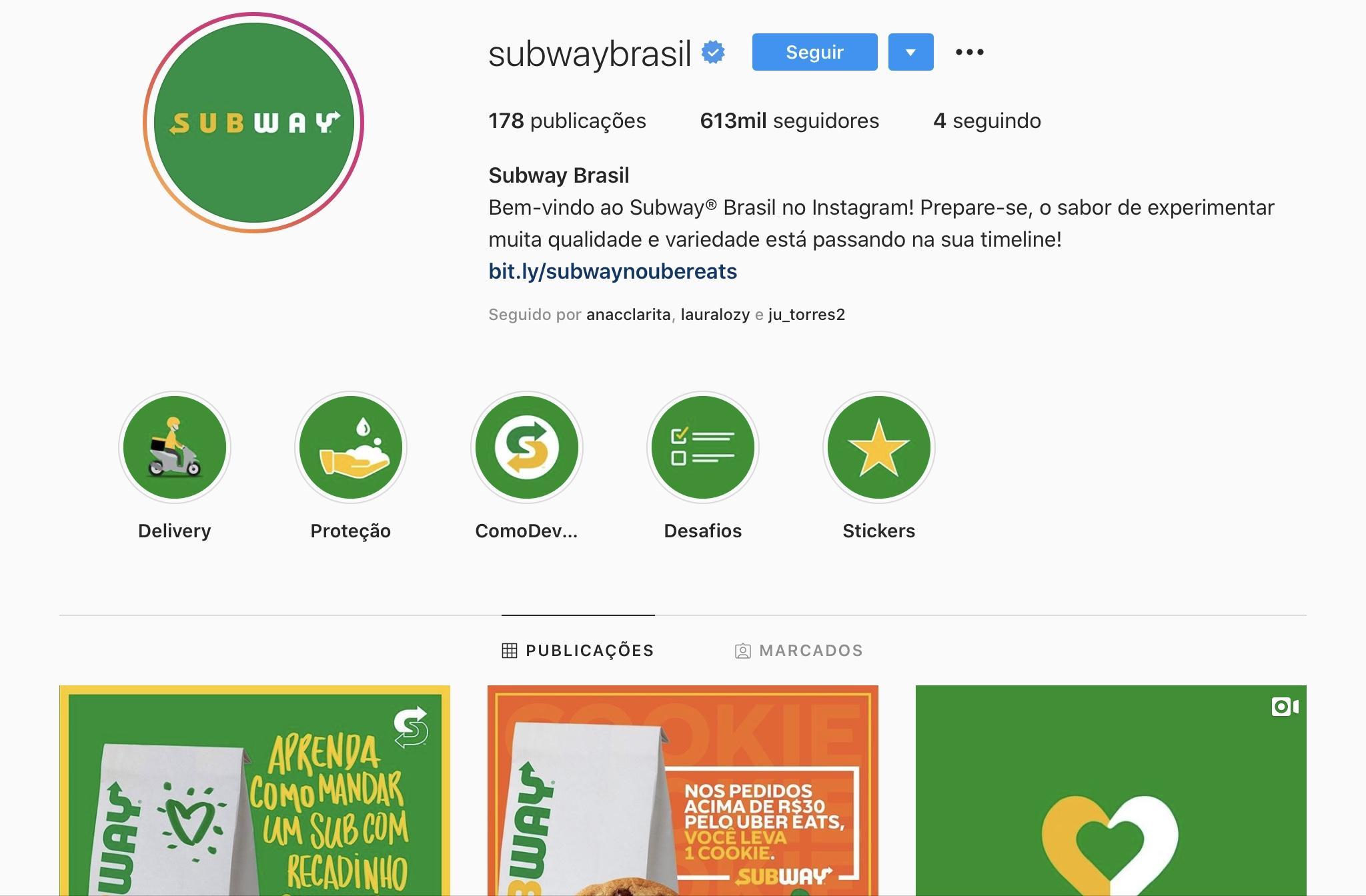 Exemplos para Criar Destaques do Instagram - Subway