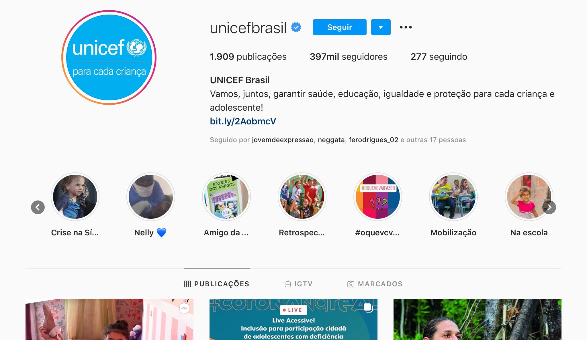 Exemplos para Criar Destaques do Instagram - Unicef