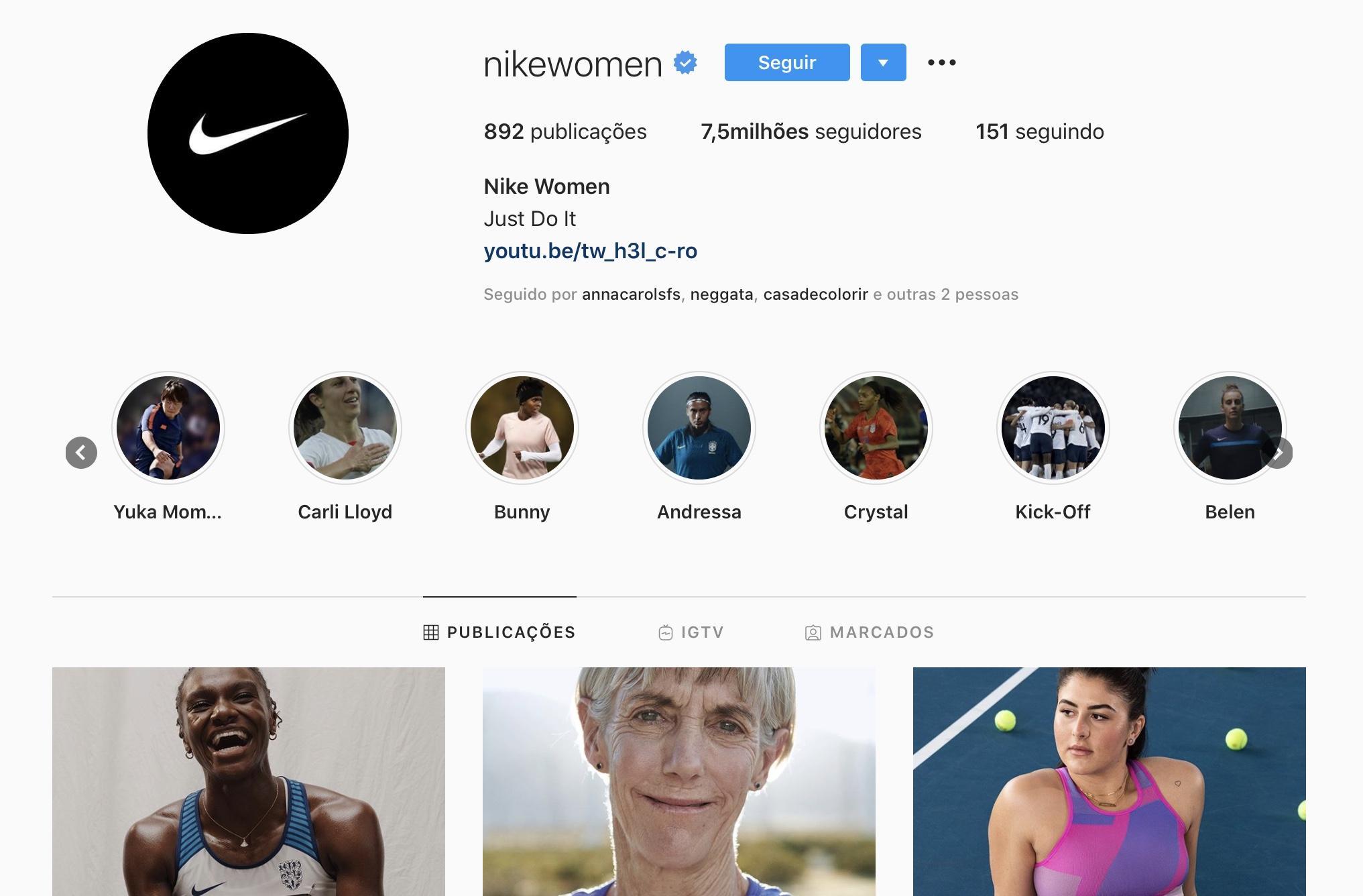 Exemplos para Criar Destaques do Instagram - Nike
