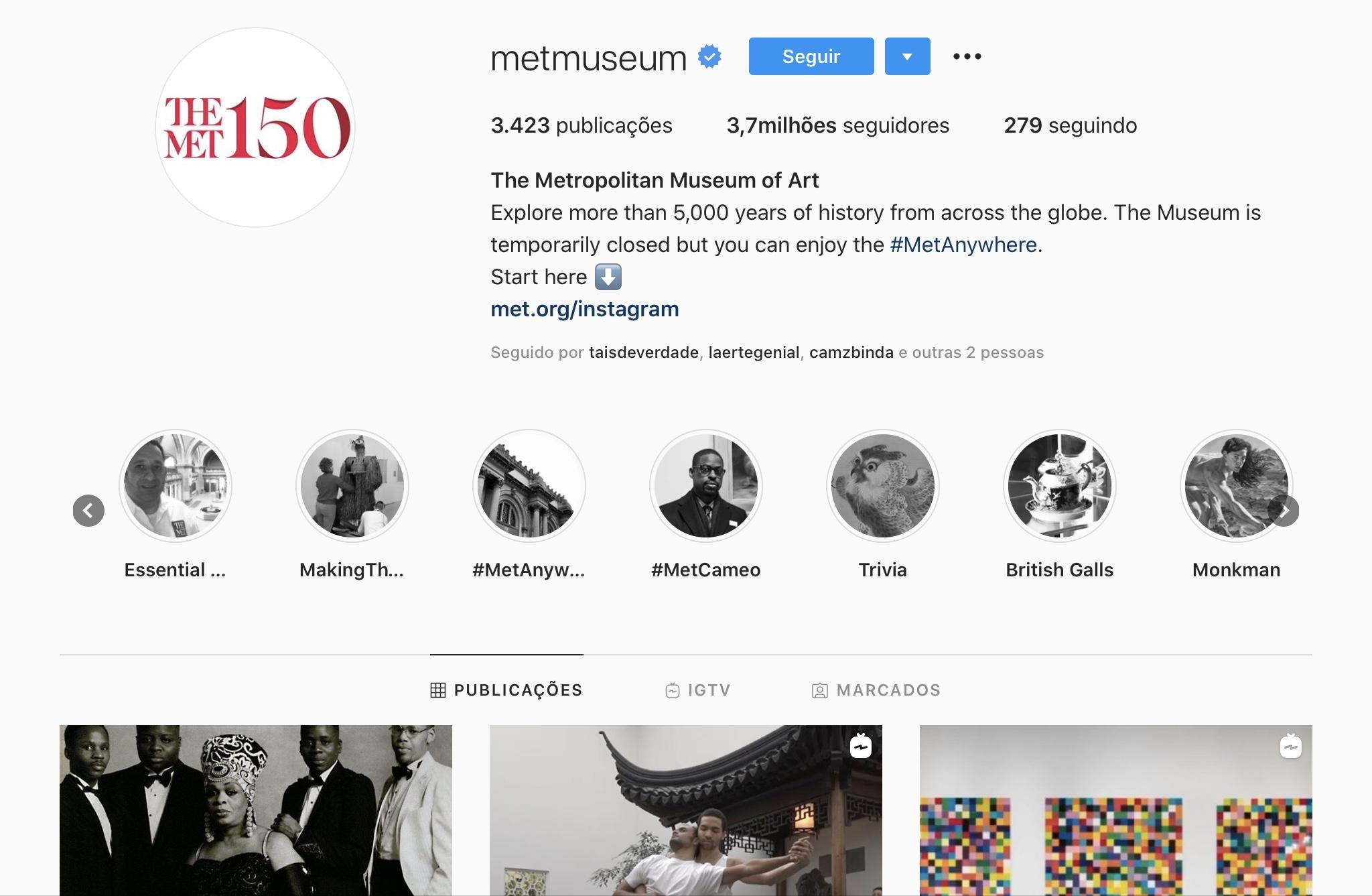 Exemplos para Criar Destaques do Instagram - MetMuseum
